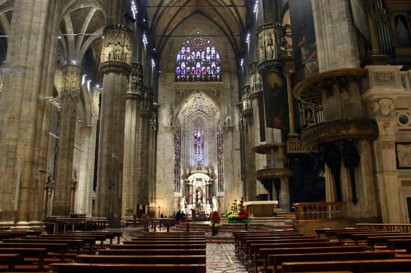 Inside Milan cathedral