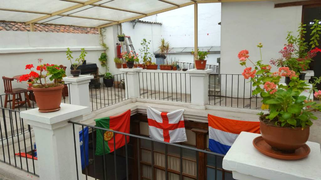 Roof terrace at the Hump Day Hostel in Quito