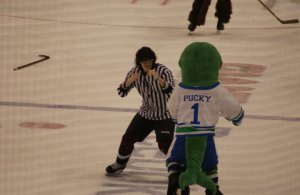 This ref is about to learn that you don't mess with a whale named Pucky.