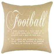 Football Burlap Throw Pillow