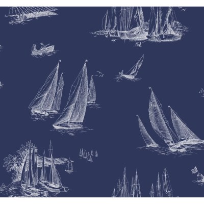 York Wallcoverings Nautical Living Sailboat Toile 27' x 27