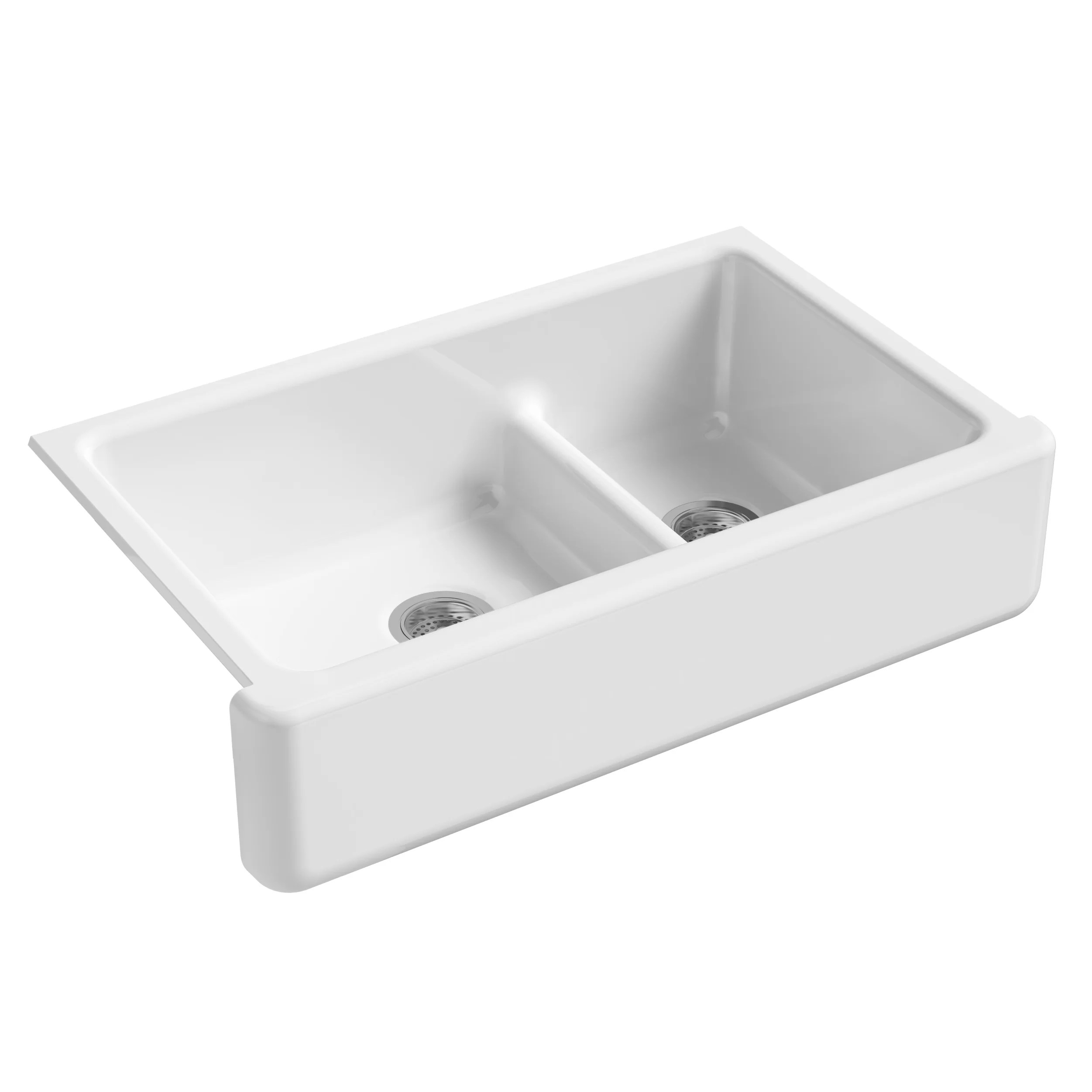 Kohler Whitehaven Self Trimming Smart Divide 35 11 16 x 21 9 16 x 9 5 8 Under Mount Large Medium Double Bowl Kitchen Sink with Tall Apron