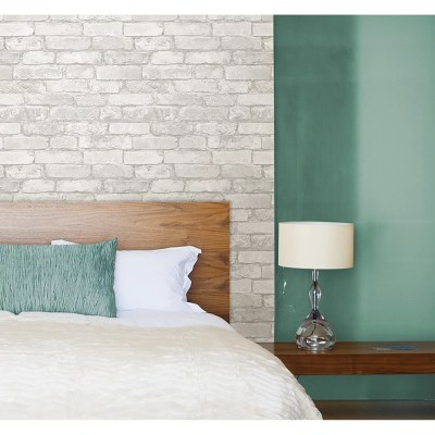 WallPops! Grey and White Brick Peel And Stick Wallpaper & Reviews | Wayfair