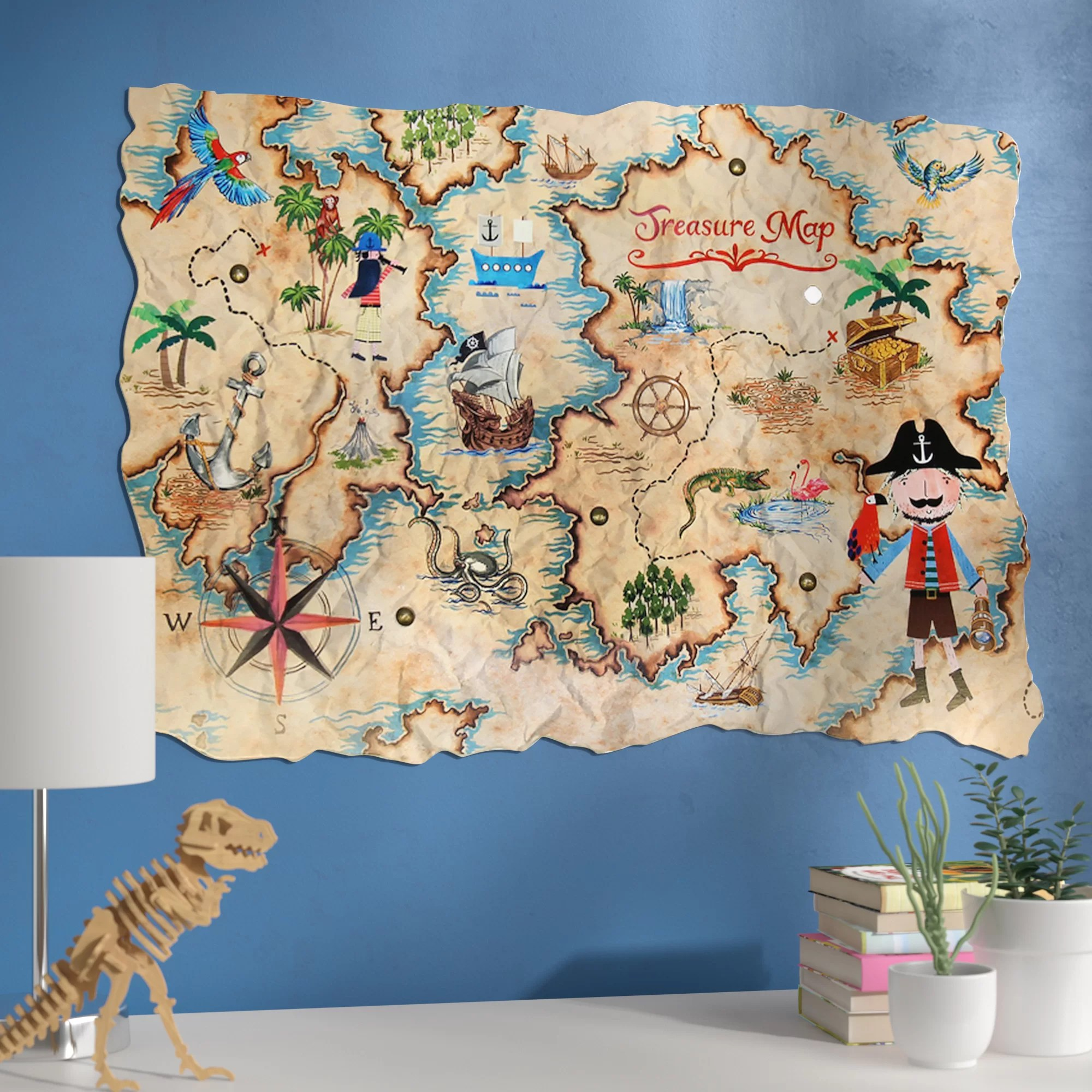 Zoomie Kids Amie Pirates Ahoy Treasure Map Wall Hanging   Wayfair