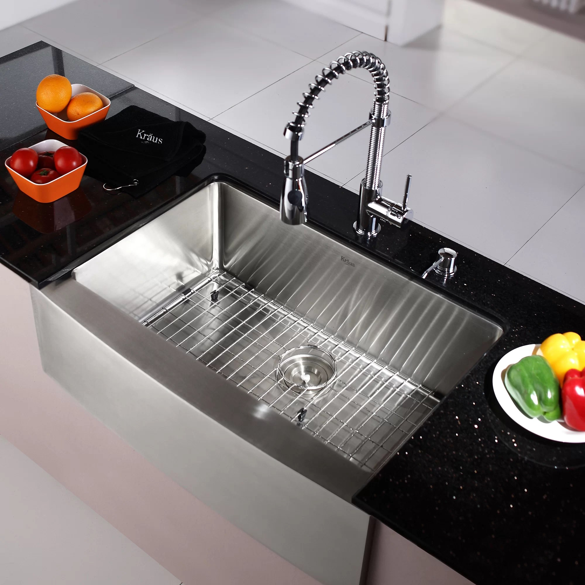 Kraus Commercial Style 30 x 20 Single Basin Farmhouse Apron Kitchen Sink with Faucet and Dispenser