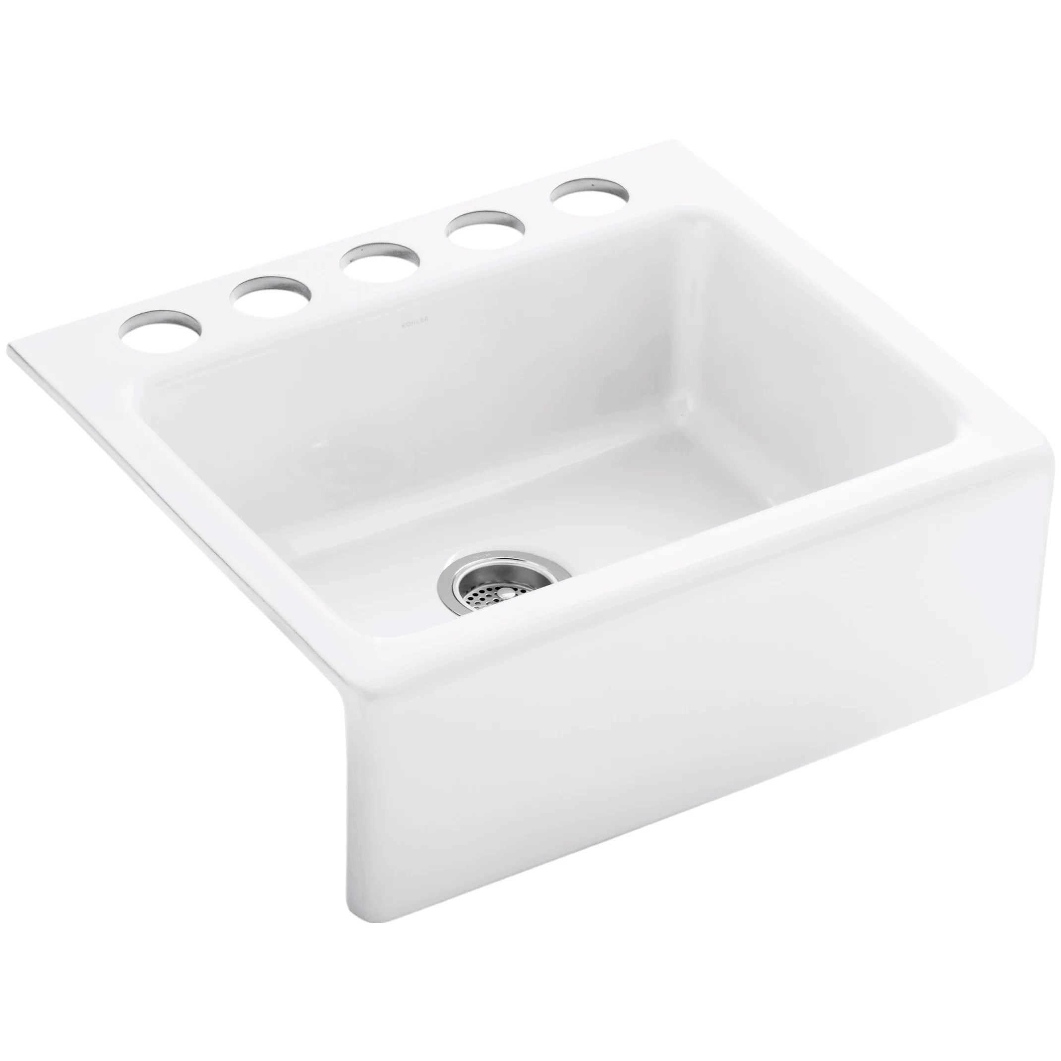 Kohler Alcott 25 x 22 x 8 5 8 Under Mount Single Bowl Kitchen Sink with Apron Front and 5 Oversize Faucet Holes