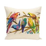 Happy Birds Print Outdoor Pillow