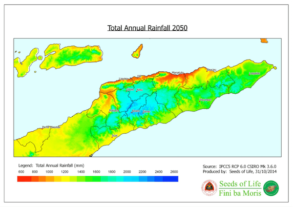 Total annual rainfal 2050