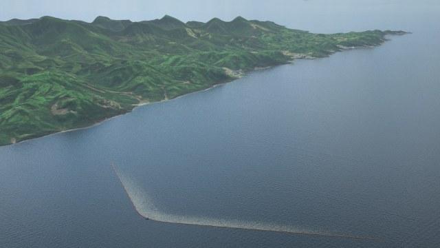 So soll die Müllbarriere vor Tsushima Island/Japan zum Einsatz gebracht werden © OceanCleanUp