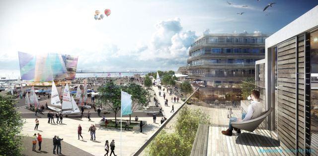 Blick auf das Hafenvorfeld vom neuen Hotel aus. © Behnisch Architekten