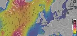 Ausschnitt aus der Wellenkarte vom Nordatlantik.