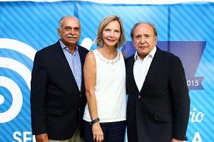 Pdte Federación de Deportes Ecuestrees, Gral Rubén Matías Rojas, Vicep. Patricia Zilio y Presidente de Seguros Venezuela, Enrique Banchieri.