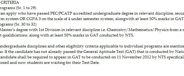 UET Lahore Masters,MPhil Degree GAT Entry Test Result 2012