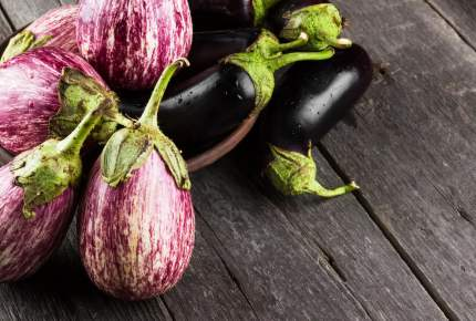 Various eggplants on a dark wooden background