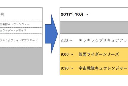 2017年10月からキュウレンジャーと仮面ライダーの放送時間が変更に!