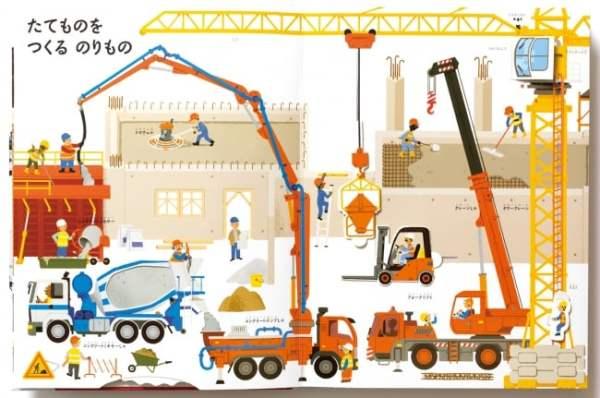 2.建物の建設:高い建物は大きなタワークレーンで資材を運ぶよ。