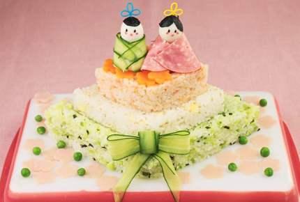 ひなまつりレシピ☆3段ひし形寿司ケーキ