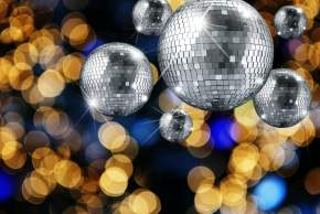 Disco ball and evening ornaments with lights