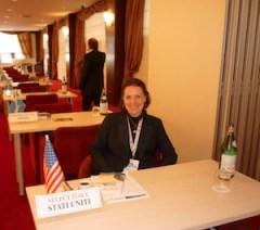 Alison working at the tradeshow in Paestum