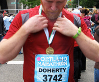 Thomas finishes the Portland Marathon 2009