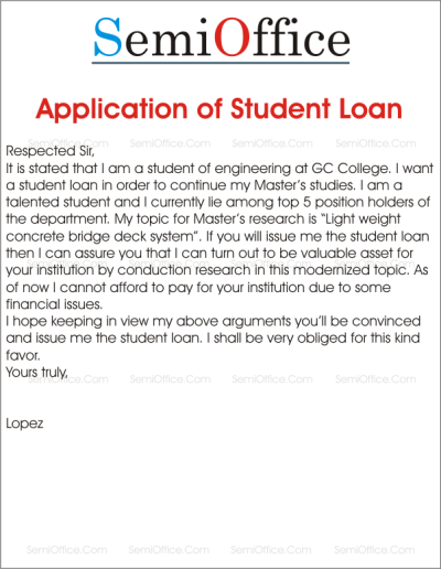 Sample Application of Student Loan