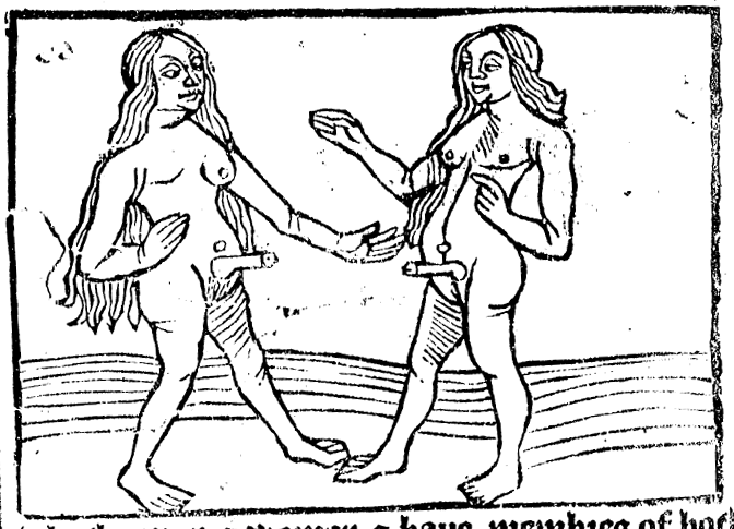 A couple of hermaphrodites packing some serious heat. From Wynken de Worde's edition of Mandeville from 1497