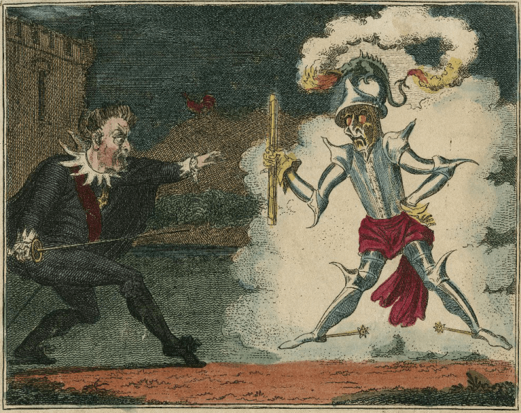 "An illustration of Hamlet and the Ghost from the verse ""Hamlet: The Comic Song."""