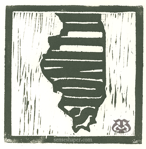 "Woodcut print, ""State Outlines: Illinois,"" from poplar woodblock."