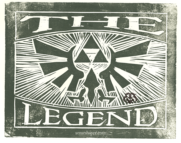 "Woodcut print, ""The Legend of Zelda,"" from choice pine woodblock, and printed on Antique Laid paper."