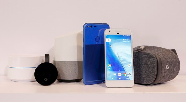 Google products on display during the presentation of new Google hardware in San Francisco