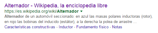 Índice de un artículo de la Wikipedia en los resultados de búsqueda