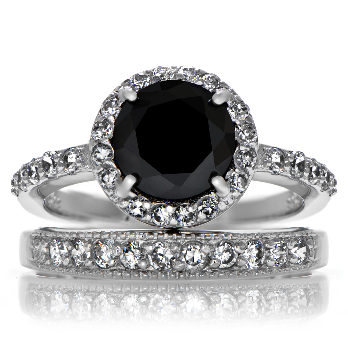 carriebundle black wedding ring sets Carrie s Black CZ Ring Set Roll Off Image to Close Zoom Window