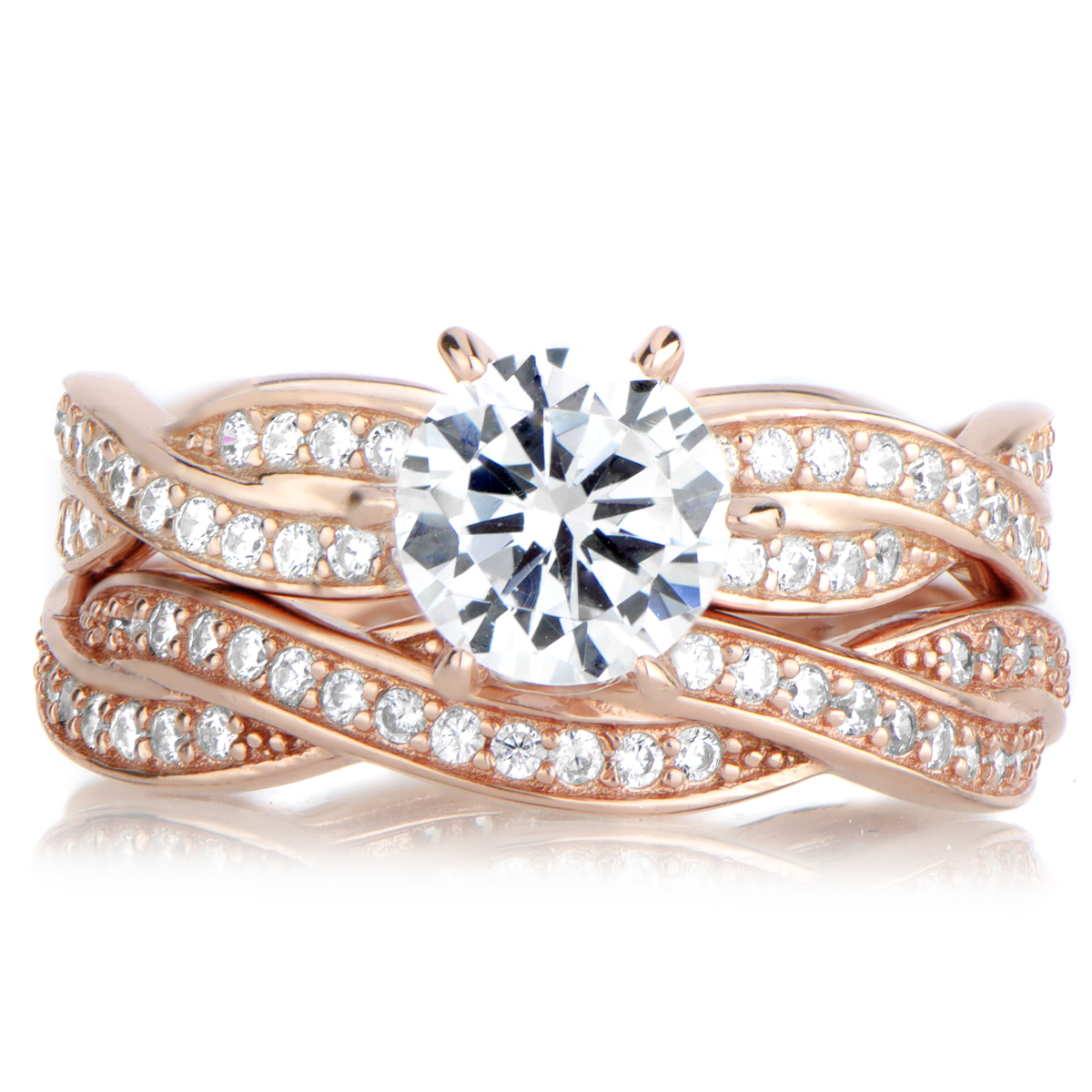 twisted ring set rose gold rose gold wedding rings Devera s Rose Gold CZ Twisted Wedding Ring Set Roll Off Image to Close Zoom Window