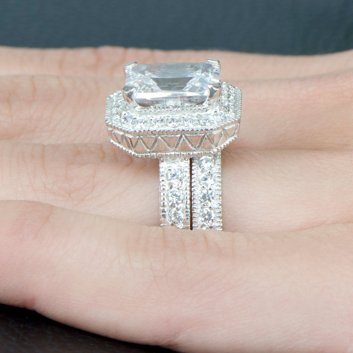 gwczcucutesr wedding rings set Karianne s Vintage Halo Emerald Cut CZ Wedding Ring Set