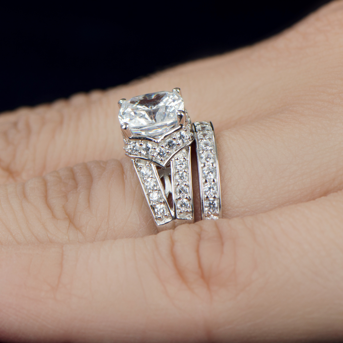 marinelczengagementring wedding rings set Marinel s Wedding Ring Set Cushion Cut CZ