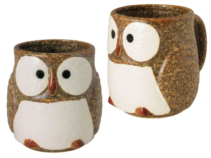 Impeccable Japanese Ceramic Speckled Brown Owl Coffee Mug 7 Owl Shaped Coffee Mugs