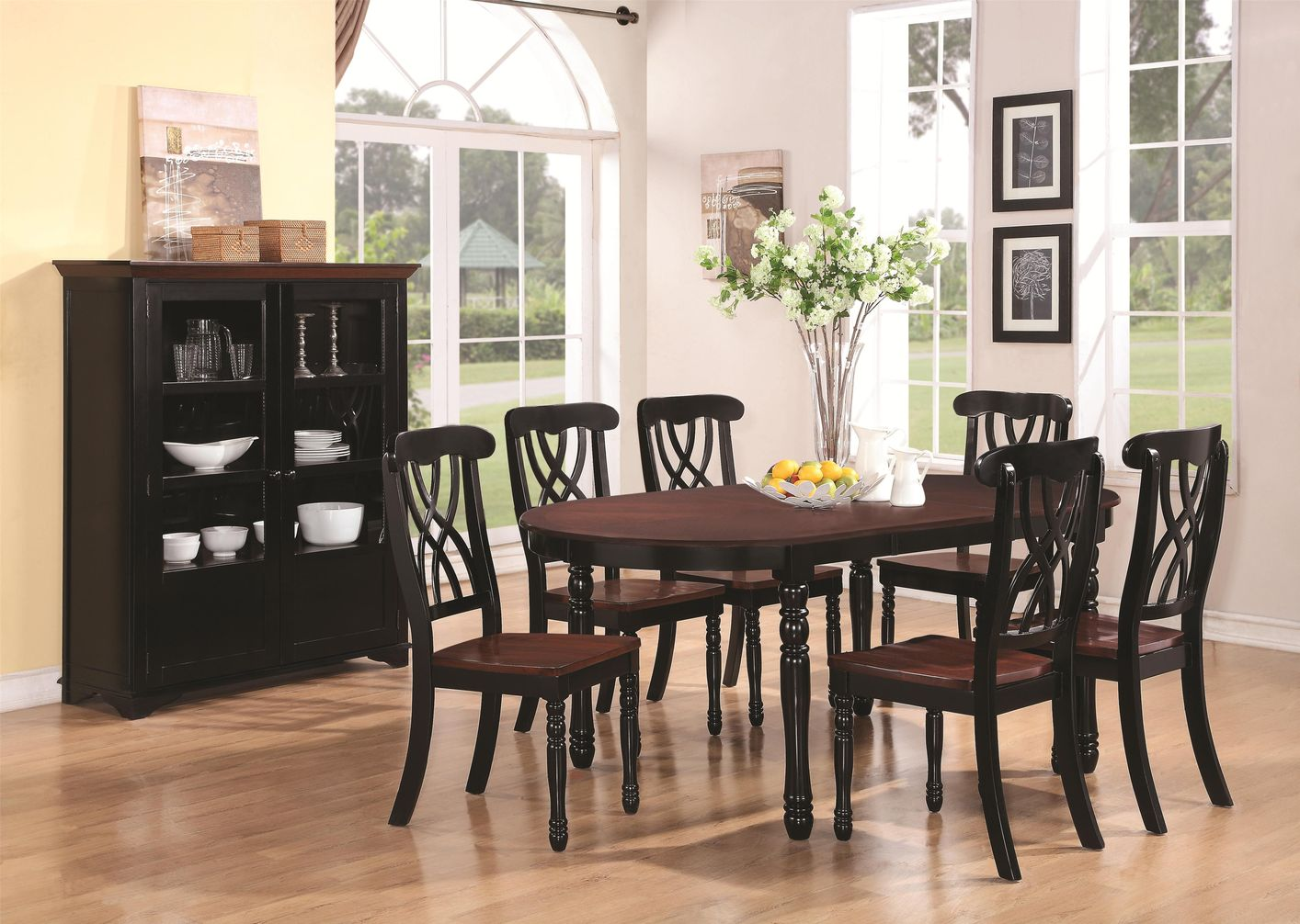 coaster addison wood kitchen table sets Addison Black And Cherry Wood Dining Table