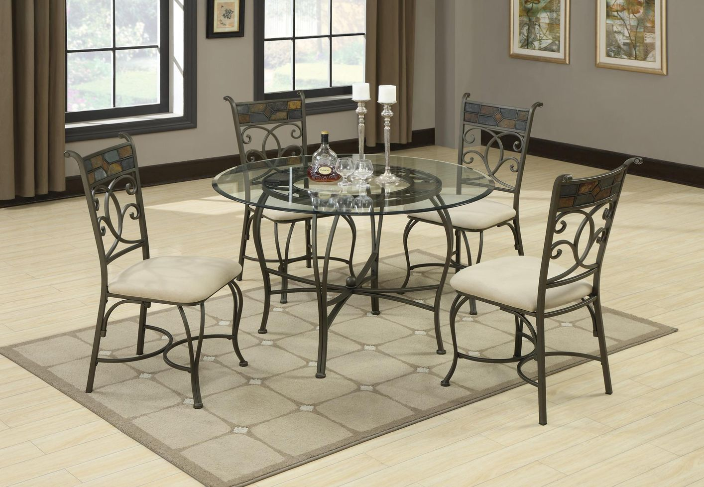 glass kitchen table sets glass round kitchen table Sheridan Grey Metal And Glass Dining Table Set Coaster Sheridan Cb45Rd Grey Metal