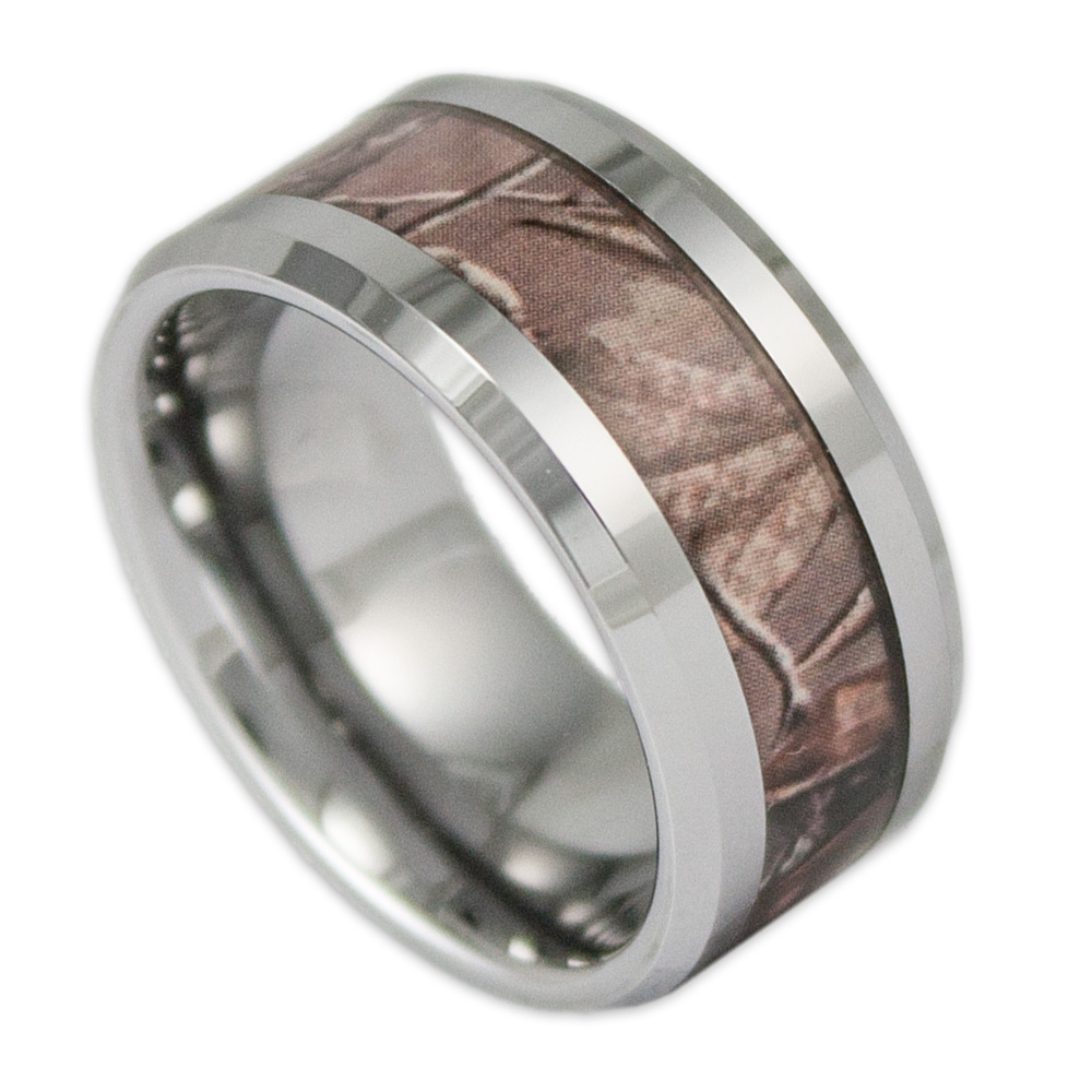 camo wedding rings Black Camo on Silver Band Couples Ring Set With Stone