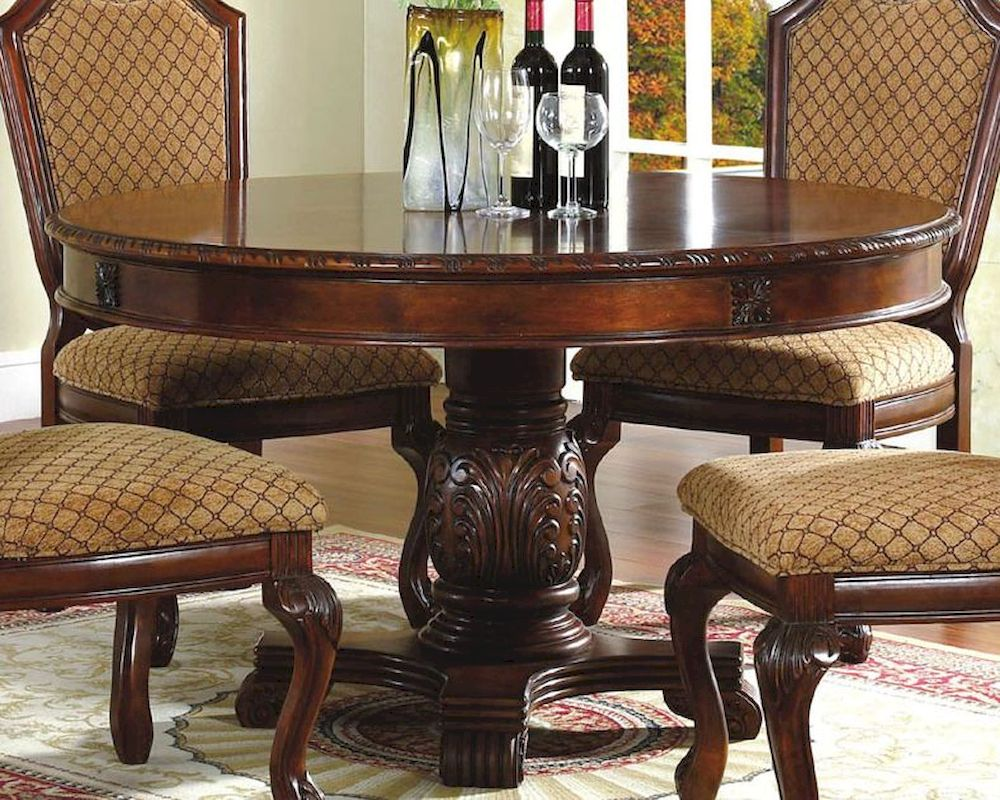 pedestal round dining table classic cherry round pedestal kitchen table Round Pedestal Dining Table in Classic Cherry MCFD