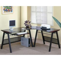 Small Crop Of Desk With Keyboard Tray
