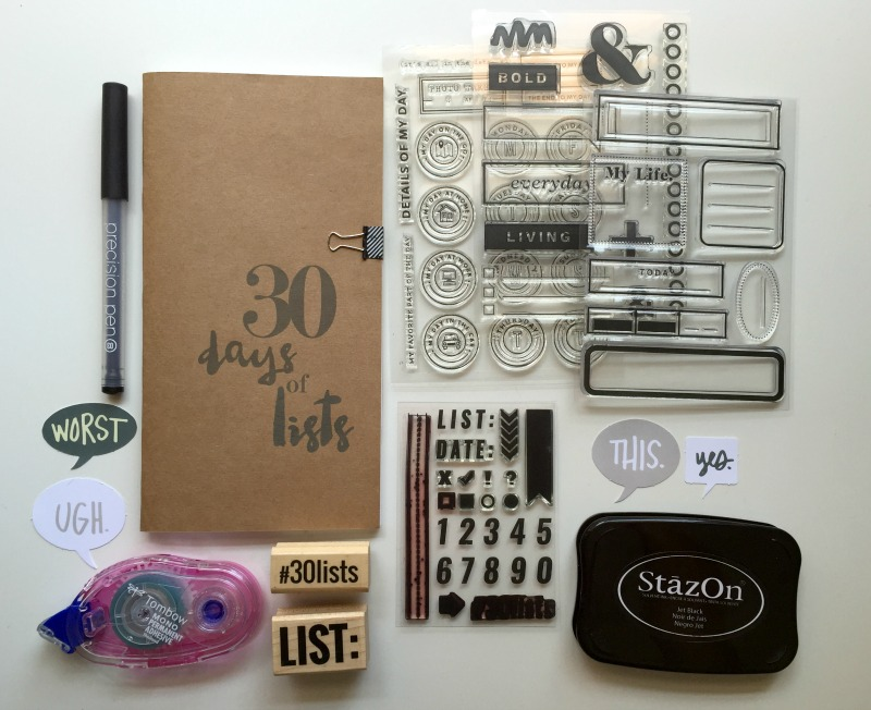 30 Days of Lists Album and Supplies for September 2016 - Campfire Chic