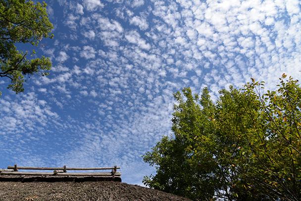 わらぶき屋根とうろこ雲