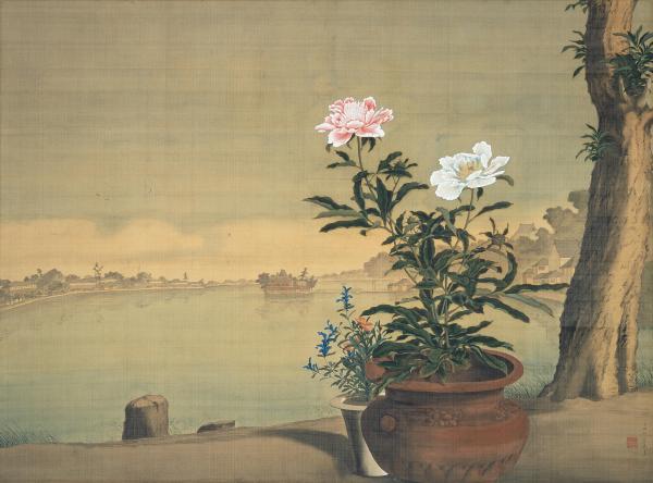 重要文化財 不忍池図 小田野直武筆 一面 江戸時代 18世紀 秋田県立近代美術館