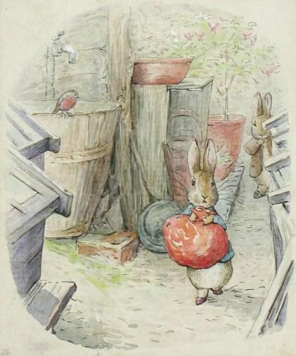 ビアトリクス・ポター《『ベンジャミン バニーのおはなし』挿絵》〔英国ナショナル・トラスト蔵〕