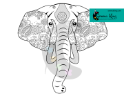 Elephant Power Animal Coloring Page