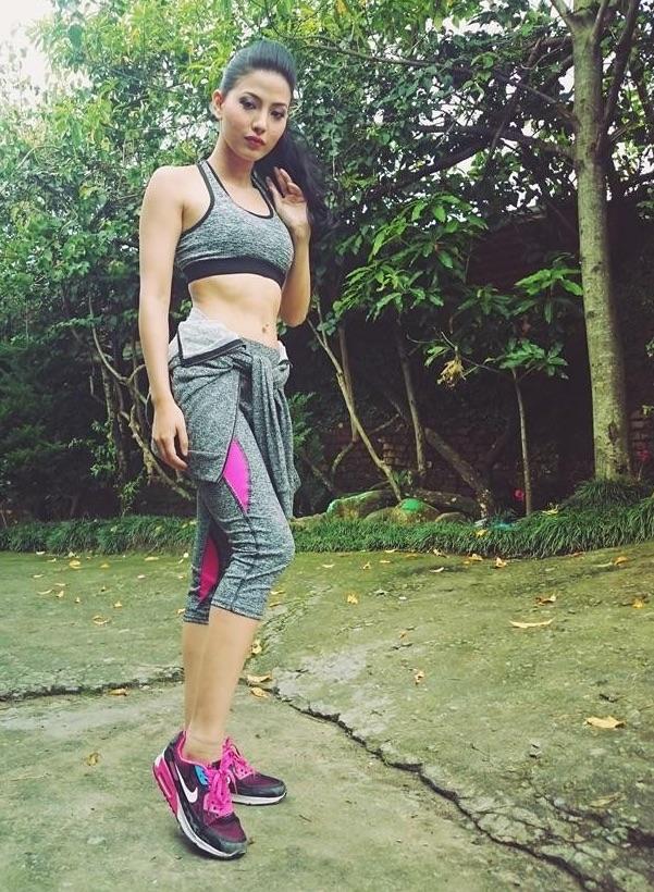 samragyee rl shah workout sexy dress