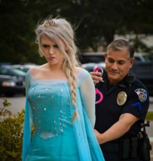 The Hanahan Police Department managed to promote Frozen, a local business that hires out princesses for children's parties and breast cancer awareness in one mildly inappropriate photo.