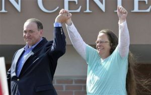 Maybe Pope Francis went to wash the Huckabee off of Kim Davis.