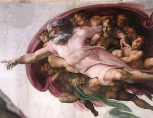 You'll notice that, around the 1500s, God stopped appearing shirtless in frescoes. Maybe he's punishing dad bod out of self-loathing?
